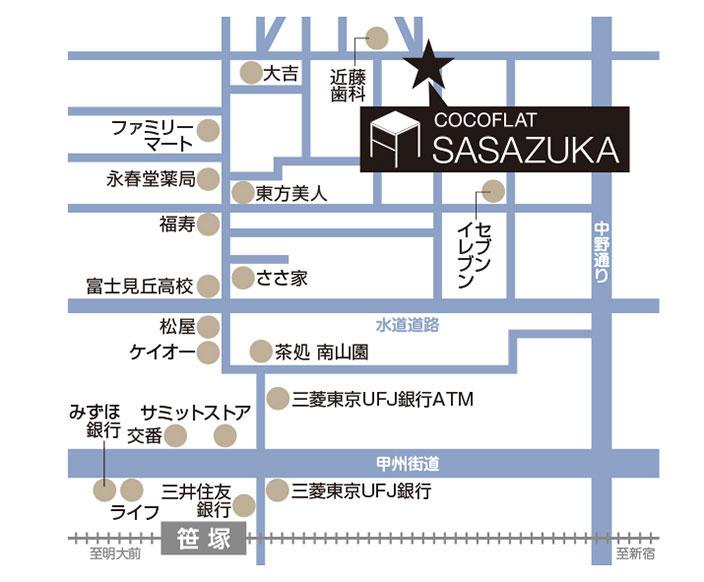 ココフラット笹塚詳細マップ